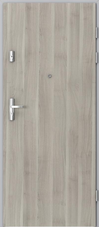Drzwi wejściowe do mieszkania KWARC pełne Okleina Portasynchro 3D *** Akacja Srebrna