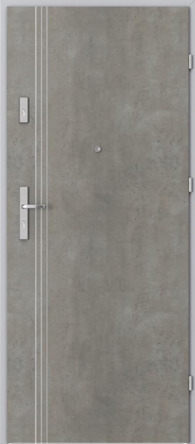 Drzwi wejściowe do mieszkania OPAL Plus intarsje 3 Okleina CPL HQ 0,2 ***** Beton jasny