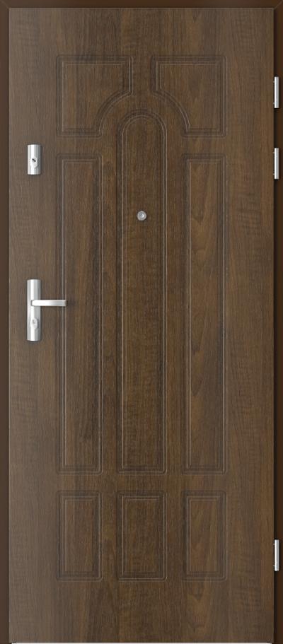 Drzwi wejściowe do mieszkania KWARC frezowane model 7 Okleina Drewnopodobna PCV **** Orzech