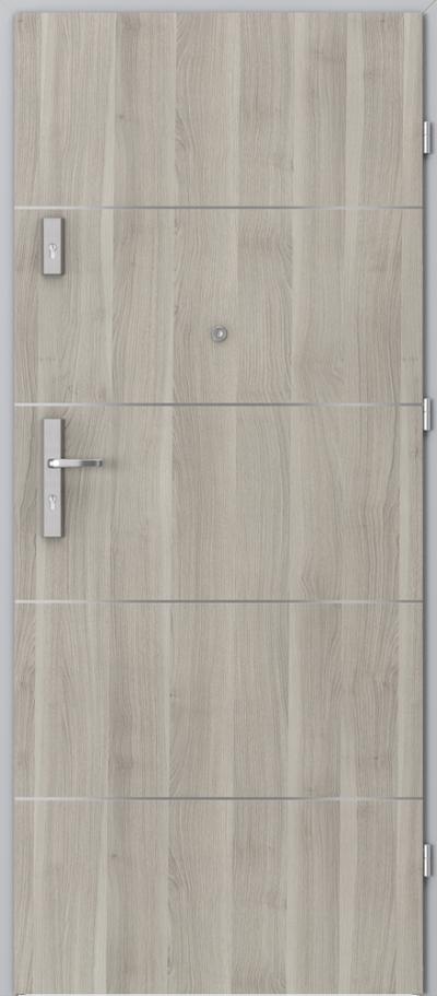 Drzwi wejściowe do mieszkania OPAL Plus intarsje 6 Okleina Portasynchro 3D *** Akacja Srebrna