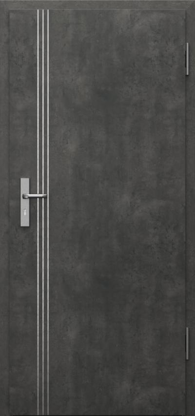 Drzwi techniczne INNOVO 37 dB Intarsje 3 Okleina CPL HQ 0,2 ***** Beton Ciemny
