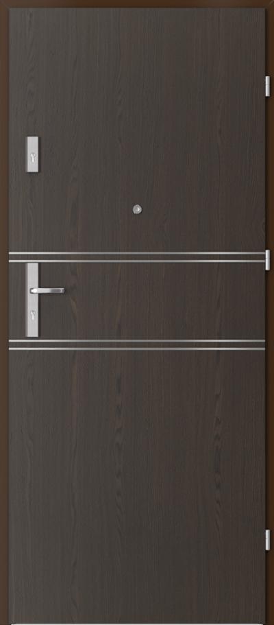 Drzwi wejściowe do mieszkania OPAL Plus intarsje 4 Okleina Naturalna Select **** Orzech Ciemny