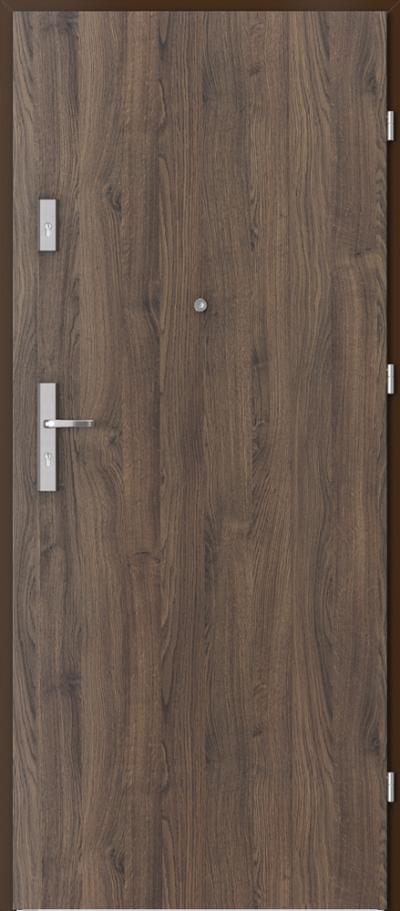 Drzwi wejściowe do mieszkania AGAT Plus pełne Okleina Portasynchro 3D *** Dąb Szkarłatny