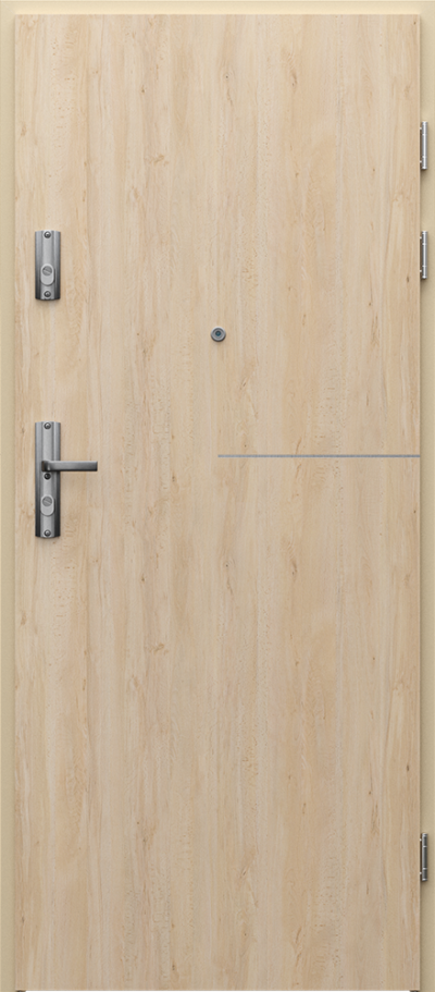 Drzwi wejściowe do mieszkania KWARC intarsje 8 Okleina Portaperfect 3D **** Buk Skandynawski