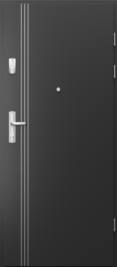 Drzwi wejściowe do mieszkania GRANIT intarsje 3 Okleina CPL HQ 0,2 ***** Czarny