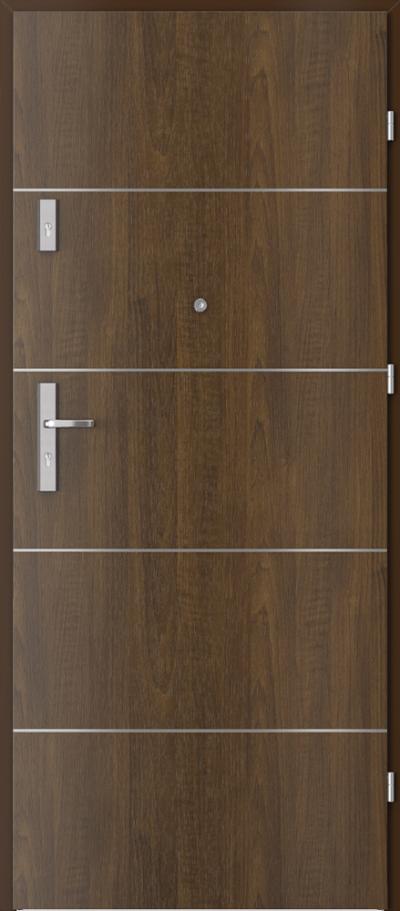 Drzwi wejściowe do mieszkania OPAL Plus intarsje 6 Okleina Drewnopodobna PCV **** Orzech