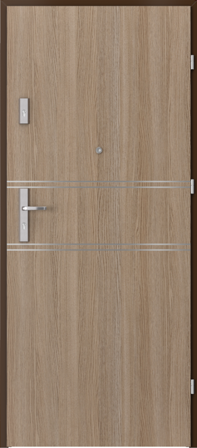 Drzwi wejściowe do mieszkania OPAL Plus intarsje 4 Okleina CPL HQ 0,2 ***** Dąb Milano 2