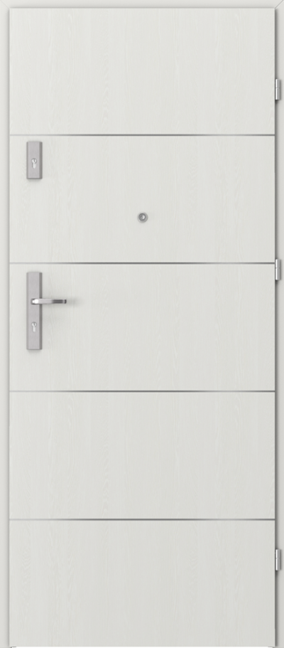 Drzwi wejściowe do mieszkania AGAT Plus intarsje 6 Okleina Portasynchro 3D *** Wenge White