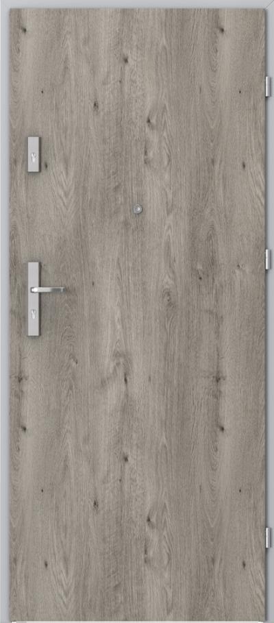 Drzwi wejściowe do mieszkania AGAT Plus pełne Okleina Portaperfect 3D **** Dąb Syberyjski