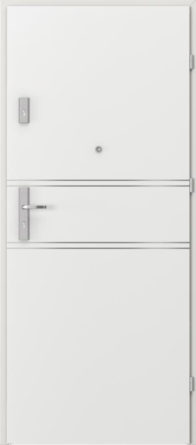 Drzwi wejściowe do mieszkania AGAT Plus intarsje 4 Okleina CPL HQ 0,2 ***** Biały