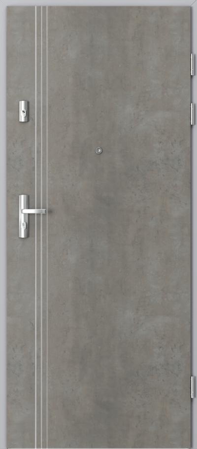 Drzwi wejściowe do mieszkania KWARC intarsje 3 Okleina CPL HQ 0,2 ***** Beton jasny
