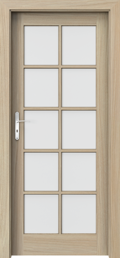 Drzwi wewnętrzne CORDOBA Duży Szpros Okleina Naturalna Dąb Satin **** Dąb Jasny