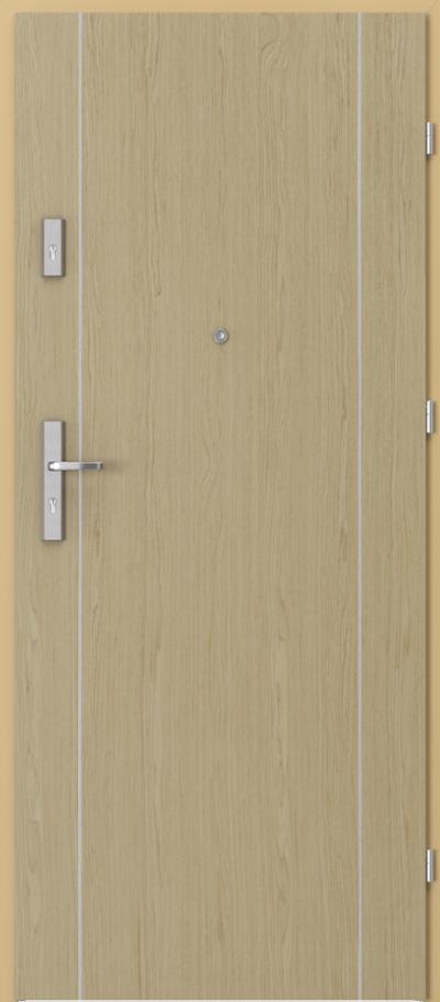 Drzwi wejściowe do mieszkania AGAT Plus intarsje 1 Okleina Naturalna Select **** Dąb