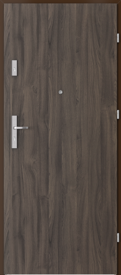 Drzwi wejściowe do mieszkania AGAT Plus pełne Okleina Portasynchro 3D *** Dąb Ciemny