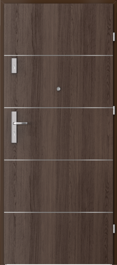 Drzwi wejściowe do mieszkania AGAT Plus intarsje 6 Okleina Portaperfect 3D **** Dąb Hawana