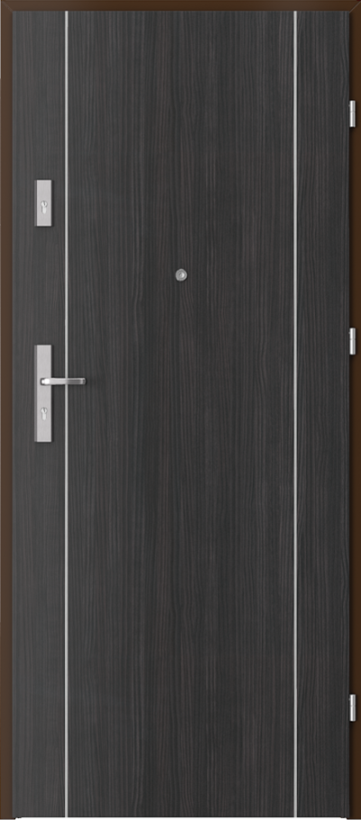 Drzwi wejściowe do mieszkania OPAL Plus intarsje 1 Okleina CPL HQ 0,7 ****** Struktura ciemny