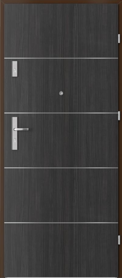 Drzwi wejściowe do mieszkania AGAT Plus intarsje 6 Okleina CPL HQ 0,2 ***** Struktura ciemny