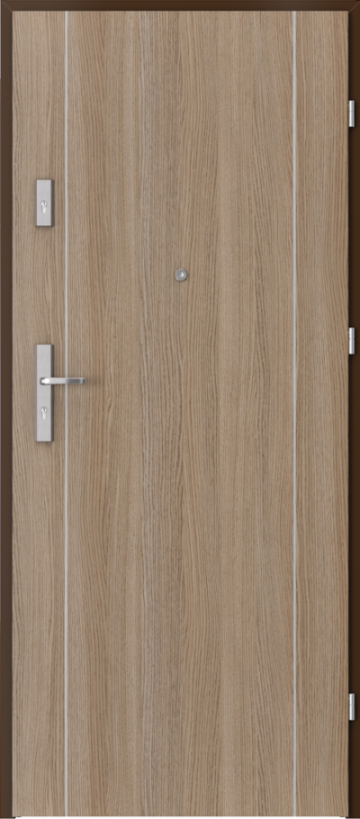 Drzwi wejściowe do mieszkania AGAT Plus intarsje 1 Okleina CPL HQ 0,2 ***** Dąb Milano 2