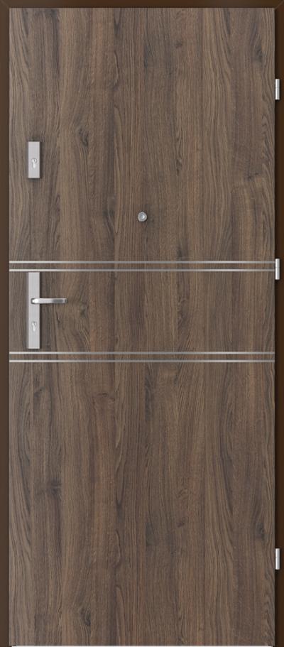 Drzwi wejściowe do mieszkania AGAT Plus intarsje 4 Okleina Portasynchro 3D *** Dąb Szkarłatny