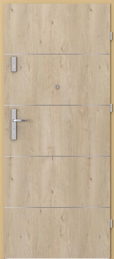 Drzwi wejściowe do mieszkania OPAL Plus intarsje 6 Okleina Portaperfect 3D **** Dąb Klasyczny