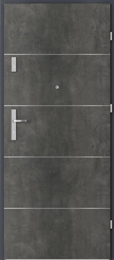 Drzwi wejściowe do mieszkania AGAT Plus intarsje 6 Okleina CPL HQ 0,7 ****** Beton Ciemny