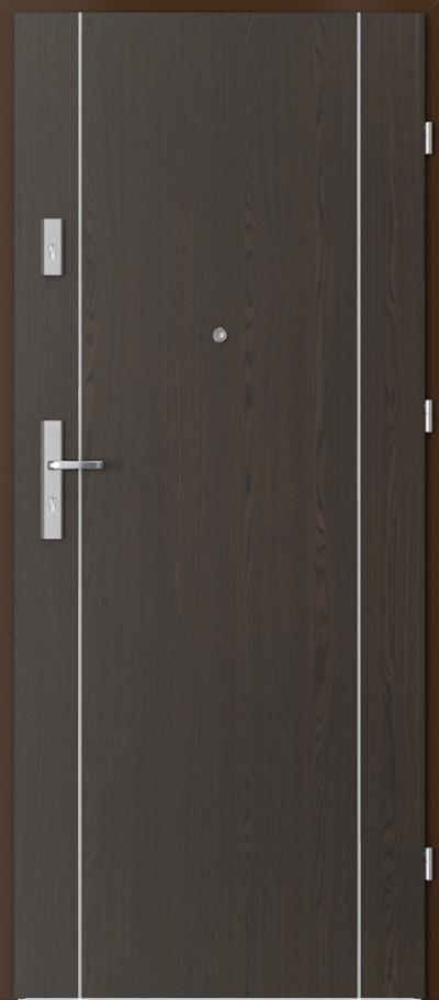 Drzwi wejściowe do mieszkania OPAL Plus intarsje 1 Okleina Naturalna Select **** Orzech Ciemny