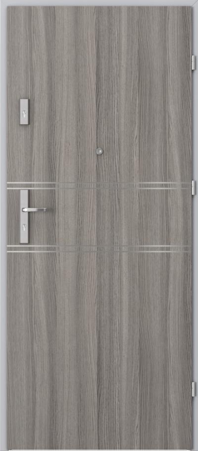 Drzwi wejściowe do mieszkania OPAL Plus intarsje 4 Okleina CPL HQ 0,2 ***** Dąb Milano 4