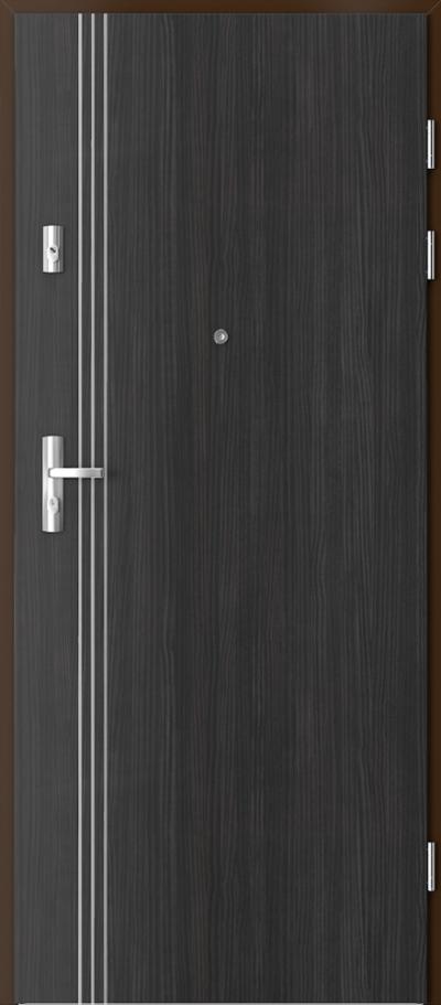 Drzwi wejściowe do mieszkania KWARC intarsje 3 Okleina CPL HQ 0,2 ***** Struktura ciemny