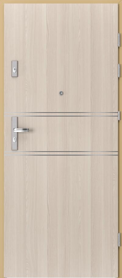 Drzwi wejściowe do mieszkania KWARC intarsje 4 Okleina CPL HQ 0,7 ****** Orzech Bielony