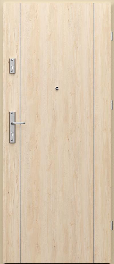 Drzwi wejściowe do mieszkania AGAT Plus intarsje 1 Okleina Portaperfect 3D **** Buk Skandynawski
