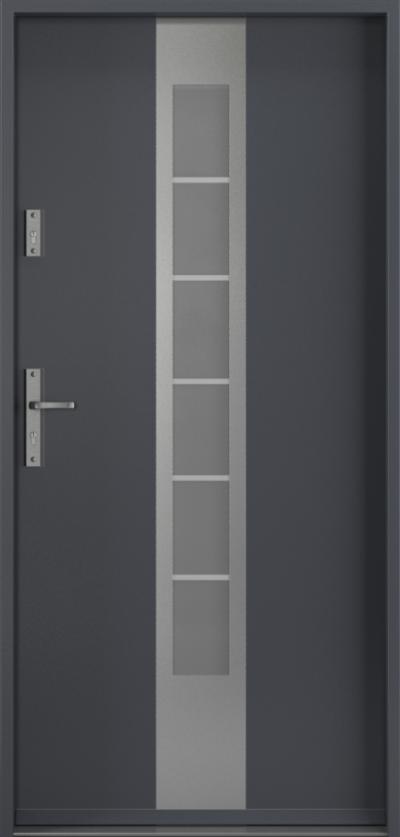 Drzwi wejściowe do domu Steel SAFE RC2 Thermo E1 Farba Poliestrowa ***** Antracyt struktura RAL 7024
