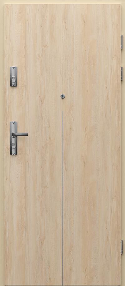 Drzwi wejściowe do mieszkania KWARC intarsje 9 Okleina Portaperfect 3D **** Buk Skandynawski