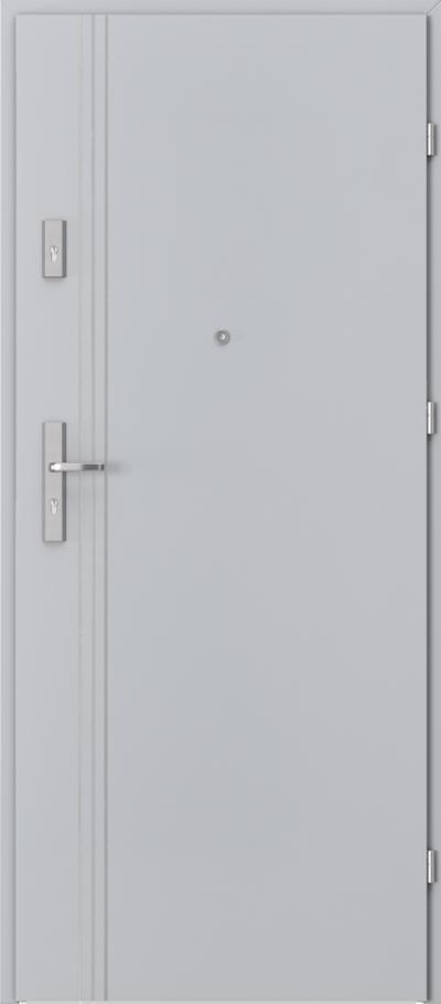 Drzwi wejściowe do mieszkania OPAL Plus intarsje 3 Okleina CPL HQ 0,7 ****** Popielaty Euroinvest