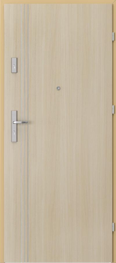 Drzwi wejściowe do mieszkania AGAT Plus intarsje 3 Okleina Portaperfect 3D **** Dąb Malibu