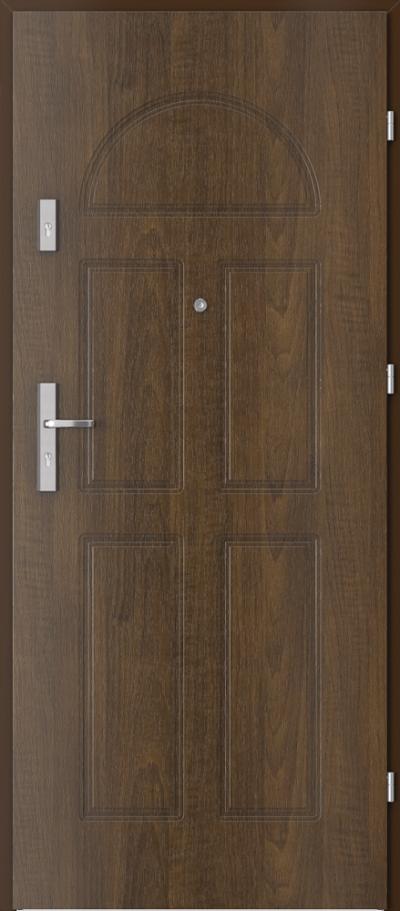 Drzwi wejściowe do mieszkania OPAL Plus frezowane model 2 Okleina Drewnopodobna PCV **** Orzech