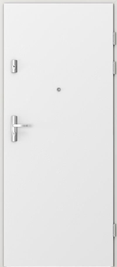 Drzwi wejściowe do mieszkania KWARC pełne Okleina Naturalna Dąb Satin **** Dąb Biały RAL 9016