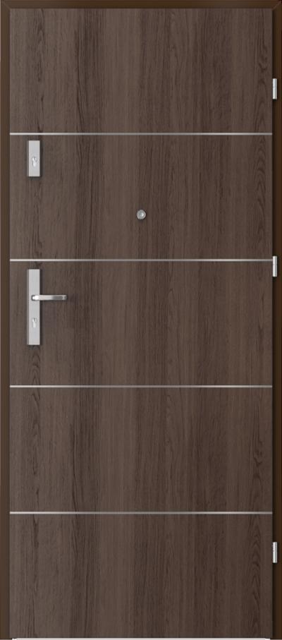 Drzwi wejściowe do mieszkania OPAL Plus intarsje 6 Okleina Portaperfect 3D **** Dąb Hawana