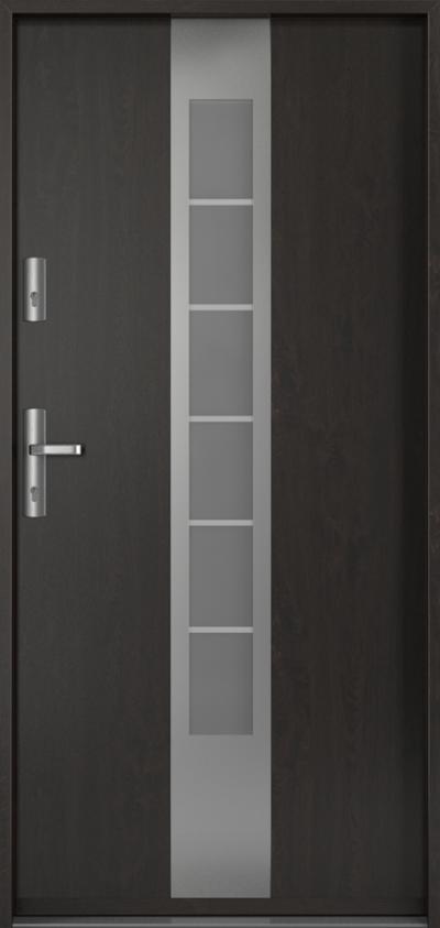 Drzwi wejściowe do domu Steel ENERGY PROTECT E1 Blacha Stalowa Laminowana PCV ***** Dąb Bagienny