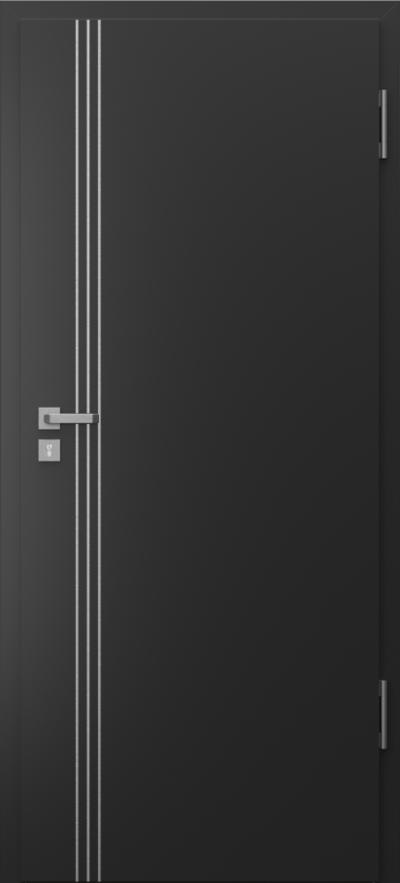 Drzwi techniczne Porta SILENCE intarsje 3 Okleina CPL HQ 0,7 ****** Czarny