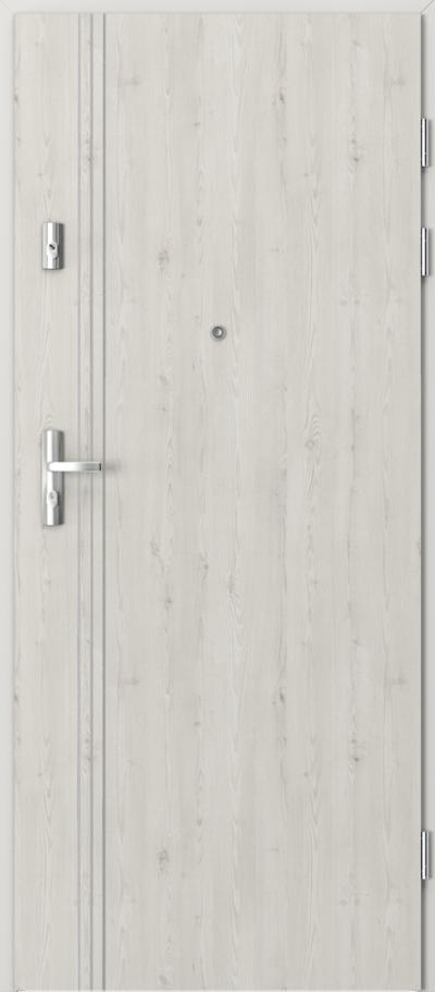 Drzwi wejściowe do mieszkania KWARC intarsje 3 Okleina Portasynchro 3D *** Sosna Norweska