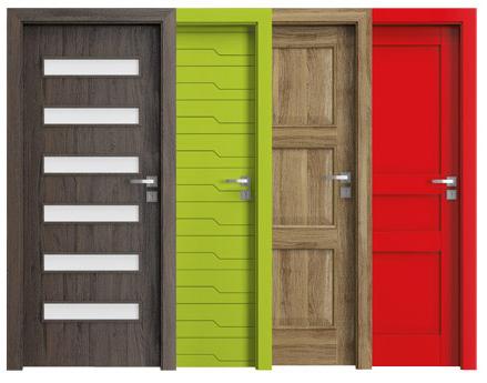 różne kolory drzwi wewnętrznych
